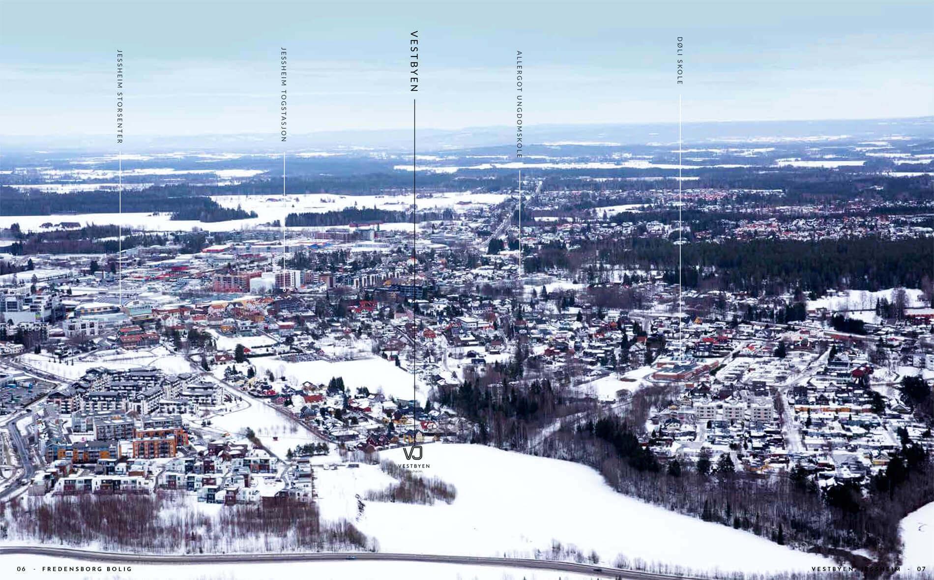 Vestbyen Jessheim flyfoto